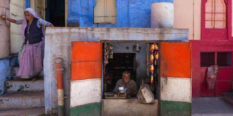 Human body, Temple, Majorelle blue, Concrete, Paint,