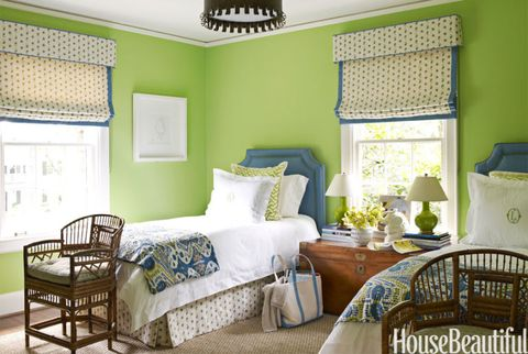 "<p>For this North Caroline <a href=""http://www.housebeautiful.com/decorating/house-pictures/color-decorating-ideas-0212"" target=""_blank"">home</a>, designer Lindsey Coral Harper painted the guest-room walls <a href=""http://www.benjaminmoore.com/"" target=""_blank"">Benjamin Moore</a>'s Stem Green. ""It immediately made this simple little space so happy,"" says Harper.</p>"
