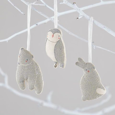 "<p>By Land of Nod, $6 each. <a href=""http://www.landofnod.com/christmas-ornaments/decor/wintry-wonder-ornament/f15126"" target=""_blank"">landofnod.com</a></p>"