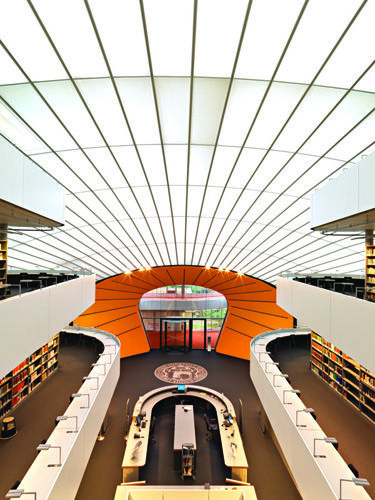 Architecture, Ceiling, Orange, Interior design, Fixture, Engineering, Parallel, Symmetry, Daylighting,