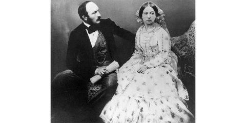 1854:  Queen Victoria (1819 - 1901) and Prince Albert (1819 - 1861), five years after their marriage.  (Photo by Roger Fenton/Roger Fenton/Getty Images)