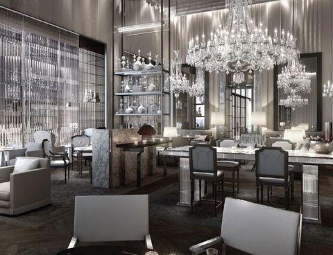Interior design, Room, Floor, Furniture, Light fixture, Ceiling fixture, Ceiling, Interior design, Table, Chandelier,