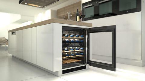 Glass, Floor, Ceiling, Shelving, Major appliance, Display case, Light fixture, Home appliance, Kitchen appliance, Shelf,