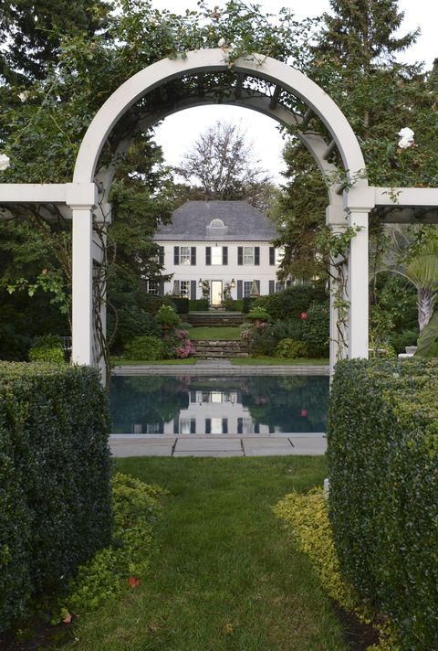Architecture, Shrub, Garden, Arch, Hedge, Park, Lawn, Water feature, Yard, Landscaping,