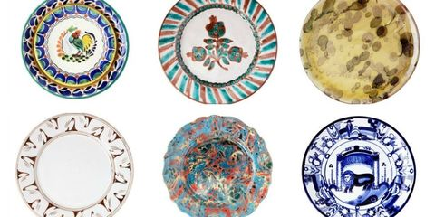 Serveware, Dishware, Porcelain, Plate, Circle, Pattern, Ceramic, Teal, Platter, Visual arts,