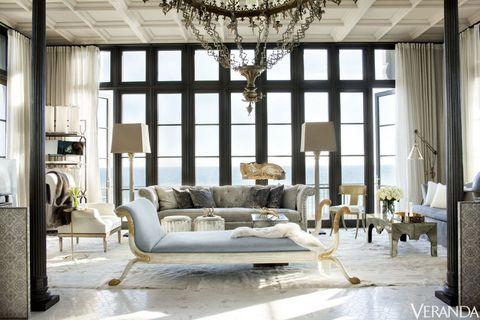Interior design, Room, Floor, Furniture, Ceiling fixture, Chandelier, Living room, Ceiling, Couch, Light fixture,