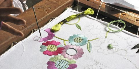 Textile, Linens, Creative arts, Floral design, Home accessories, Craft, Drawing, Needlework, Plywood,