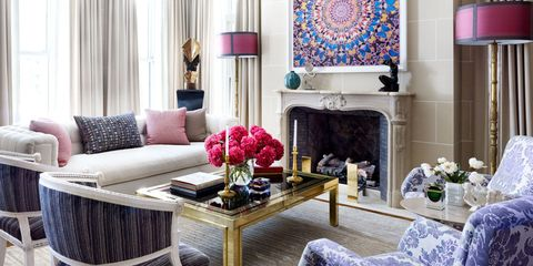Interior design, Room, Living room, Table, Furniture, Floor, Home, Wall, Interior design, Purple,