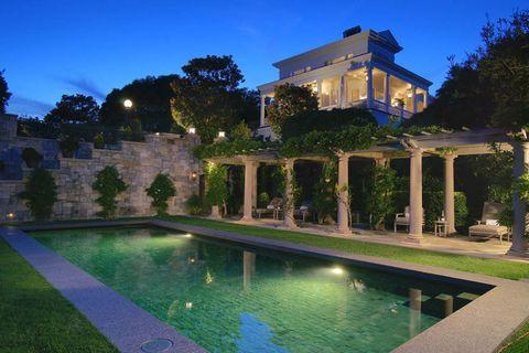 Property, Swimming pool, Real estate, Villa, Reflection, Home, Garden, Resort, Majorelle blue, Mansion,