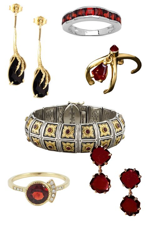 "<p>Wouters & Hendrix Gold Crow's Claw Garnet Earrings, $1,619; <a href=""http://www.farfetch.com/shopping/item11064029.aspx"">farfetch.com</a></p><p class=""MsoNormal"">Malaika Malaika Sterling Silver 2 ¼ Ct Garnet Ring, $40; <a href=""http://www.overstock.com/Jewelry-Watches/Malaika-Malaika-Sterling-Silver-2-1-4ct-Garnet-Ring/10214666/product.html?refccid=2WJEUJGDM2ZYH4KA3PEOHAXAO4&searchidx=12"">overstock.com</a><o:p></o:p></p><p class=""MsoNormal"">Bijules Ear Cuff with Garnets, $3,338; <a href=""http://bijulesnyc.com/bijules/ear-cuff-with-garnets.html"">bijulesnyc.com</a><o:p></o:p></p><p class=""MsoNormal"">Konstantino Garnet Cross Bangle, $907; <a href=""https://www.therealreal.com/products/women/jewelry/bracelets/konstantino-garnet-cross-bangle?sid=ncvyyf&cvosrc=affiliate.shareasale.595441"">therealreal.com</a></p><p class=""MsoNormal"">Jennie Kwon Round Garnet Deco Ring, $1,150; <a href=""http://jenniekwondesigns.com/products/round-garnet-deco-ring"">jenniekwondesigns.com</a></p><p class=""MsoNormal"">Annoushka 18ct Rose Gold and Rhodolite Garnet Shard Drop Earrings, $1,580; <a href=""http://www.selfridges.com/GB/en/cat/annoushka-18ct-rose-gold-and-rhodolite-garnet-shard-drop-earrings_714-10087-023636/?_$ja=tsid:32619%7Cprd:202819&cm_mmc=AFFIL-_-AWIN-_-202819-_-0RpXOIXA500&awc=3539_1440713019_cb171eb35503b43e5c242f2fe1c7bbcc&utm_source"">selfridges.co.uk</a></p>"