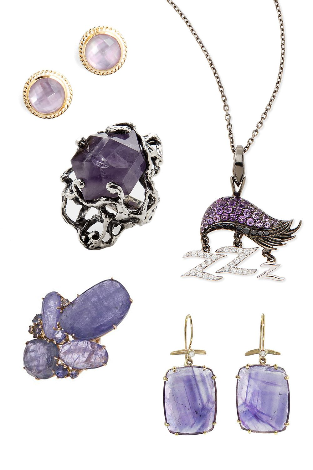 """<p>Anna Beck Stone Stud Earrings, $125; <a href=""""http://shop.nordstrom.com/s/4115758?origin=category-personalizedsort&contextualcategoryid=0&fashionColor=Amethyst&resultback=1279"""">nordstrom.com</a></p><p class=""""MsoNormal"""">MANIAMANIA Immortals Ring, $395; <a href=""""http://www.themaniamania.com/shop/Rings/immortals-ring-10"""">themaniamania.com</a></p><p class=""""MsoNormal"""">Stephen Webster 18k Sloth Pendant Necklace, $3,950; <a href=""""http://www.bergdorfgoodman.com/Stephen-Webster-18K-Sloth-Pendant-Necklace-with-Diamonds-and-Amethyst-Stephen-Webster-/prod103690100___/p.prod?icid=&searchType=MAIN&rte=%2Fsearch.jsp%3FN%3D0%26Ntt%3DStephen%2BWebster%2B%2B%26_requestid%3D63426&eItemId=prod"""">bergdorfgoodman.com</a></p><p class=""""MsoNormal"""">Federica Rettore Amethyst Ring, $11,340; <a href=""""http://www.farfetch.com/shopping/women/federica-rettore-amethyst-ring-item-10400040.aspx?storeid=9467&ffref=lp_14_1_"""">farfetch.com</a></p><p class=""""MsoNormal"""">Jamie Joseph Emerald Cut Amethyst Earrings, $1,080; <a href=""""https://www.ylang23.com/product/emerald+cut+amethyst+earrings.do?sortby=newArrivals&refType=&from=Search"""">ylang23.com</a></p>"""