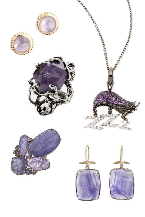 "<p>Anna Beck Stone Stud Earrings, $125; <a href=""http://shop.nordstrom.com/s/4115758?origin=category-personalizedsort&contextualcategoryid=0&fashionColor=Amethyst&resultback=1279"">nordstrom.com</a></p><p class=""MsoNormal"">MANIAMANIA Immortals Ring, $395; <a href=""http://www.themaniamania.com/shop/Rings/immortals-ring-10"">themaniamania.com</a></p><p class=""MsoNormal"">Stephen Webster 18k Sloth Pendant Necklace, $3,950; <a href=""http://www.bergdorfgoodman.com/Stephen-Webster-18K-Sloth-Pendant-Necklace-with-Diamonds-and-Amethyst-Stephen-Webster-/prod103690100___/p.prod?icid=&searchType=MAIN&rte=%2Fsearch.jsp%3FN%3D0%26Ntt%3DStephen%2BWebster%2B%2B%26_requestid%3D63426&eItemId=prod"">bergdorfgoodman.com</a></p><p class=""MsoNormal"">Federica Rettore Amethyst Ring, $11,340; <a href=""http://www.farfetch.com/shopping/women/federica-rettore-amethyst-ring-item-10400040.aspx?storeid=9467&ffref=lp_14_1_"">farfetch.com</a></p><p class=""MsoNormal"">Jamie Joseph Emerald Cut Amethyst Earrings, $1,080; <a href=""https://www.ylang23.com/product/emerald+cut+amethyst+earrings.do?sortby=newArrivals&refType=&from=Search"">ylang23.com</a></p>"