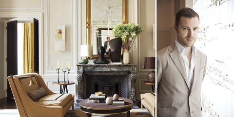 Room, Interior design, Dress shirt, Coat, Shirt, Table, Collar, Suit, Living room, Interior design,