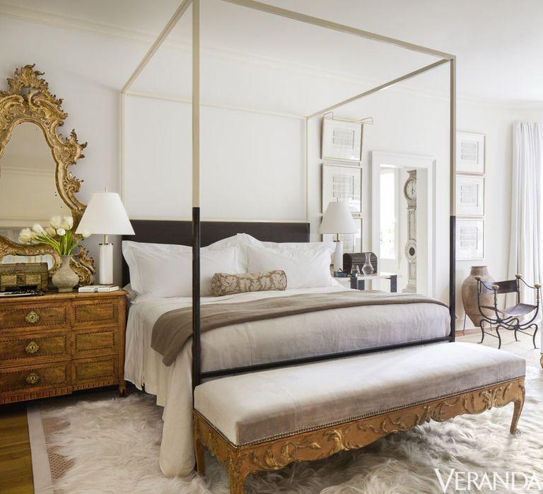 Timeless French Decorating Ideas {Tara Shaw}. Bed and mirror, Tara Shaw Maison; 18th-century Swedish bench in a Kravet velvet.