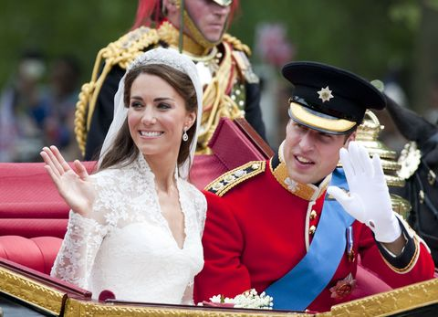 Their Royal Highnesses Prince William, Duke Of Cambridge And Catherine, Duchess Of Cambridge The Journey By Carriage Procession To Buckingham Palace Following Their Marriage At Westminster Abbey.