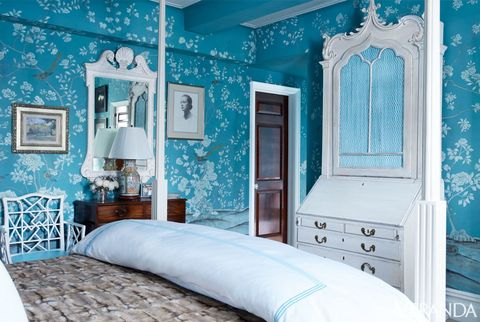 Blue, Wood, Green, Room, Interior design, Bed, Home, Wall, Property, Textile,