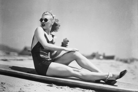 Photograph, Retro style, Sitting, Leg, Photography, Black-and-white, Sun tanning, Swim cap, Vintage clothing, Sunglasses,
