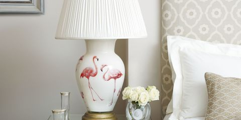Room, Interior design, Wall, Textile, Drawer, White, Furniture, Pink, Interior design, Lampshade,