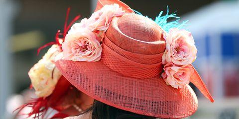 Hat, Flower, Fashion accessory, Petal, Pink, Peach, Headgear, Costume accessory, Sun hat, Orange,