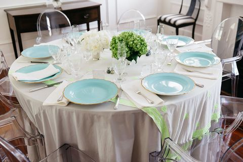 Tablecloth, Dishware, Serveware, Furniture, Textile, Table, Room, Linens, Teal, Turquoise,
