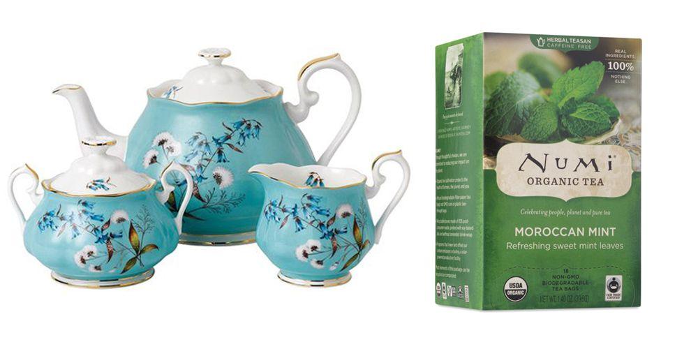 "<p><strong>100 Years</strong> tea set, $187, <a href=""https://us.amara.com/products/100-years-tea-set-3-piece-1950-festival"" target=""_blank"">amara.com</a>; <strong>Numi </strong>Mint tea, $8, <a href=""http://shop.numitea.com/Moroccan-Mint/p/NUMIS-10104&c=NumiTeaStore@Teabag@Herbal"" target=""_blank"">shopnumitea.com</a>. </p>"