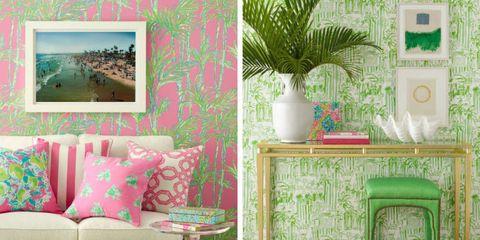 Green, Room, Wall, Flowerpot, Interior design, Furniture, Pink, Interior design, Teal, Turquoise,