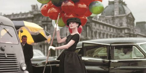 Balloon, Dress, Party supply, Umbrella, Classic car, Toy, Classic, Gown, Holiday, Antique car,