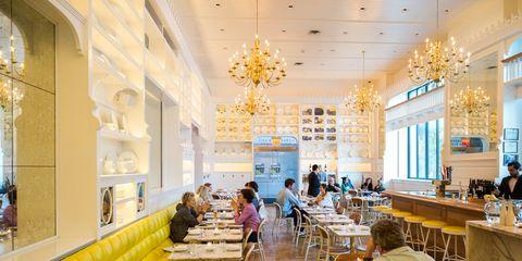 Lighting, Interior design, Furniture, Ceiling, Interior design, Light fixture, Table, Glass, Restaurant, Hall,