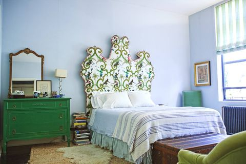 Wood, Blue, Green, Room, Interior design, Bed, Property, Textile, Wall, Furniture,