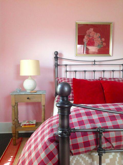Room, Interior design, Textile, Plaid, Red, Bed, Wall, Linens, Bedding, Tartan,