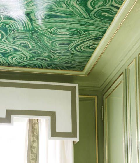 Green, Interior design, Wall, Room, Ceiling, Line, Teal, Molding, Paint, Art,