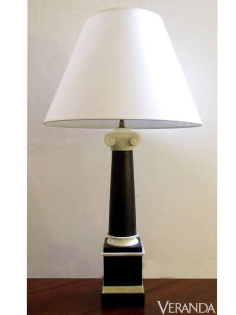 "<p>Bone and Ebony Ionic Column Lamp, John Rosselli ($1,200; <a href=""http://www.johnrosselli.com"">JohnRosselli.com</a>)</p>"