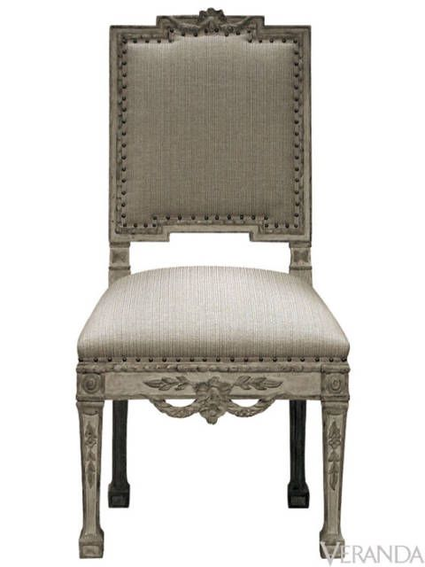 "<p>This is a beautiful recreation of a classic Italian dining chair from the Piedmont region. Delicate swags balance out the strong geometric shapes of the frame. It's available in a variety of painted, stained, and gilded finishes.</p> <p>Piedmontese Chair, <a href=""http://www.dennisandleen.com"">dennisandleen.com</a></p>"