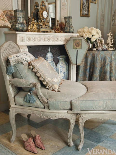 <p>Unwind on the 18th-century grey-painted Duchesse-Brisse in Mme. Gutfreund's boudoir (estimate $5,400-$8,000).</p>