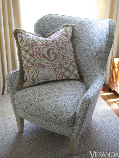 """<p>A chair upholstered in Elizabeth Eakins' """"Lytton"""" denim blue fabric makes you want to snuggle up with a good book in this cozy reading nook designed by Connecticut-based Parc Monceau. <a href=""""http://www.Elizabetheakins.com/"""">Elizabetheakins.com</a></p>"""