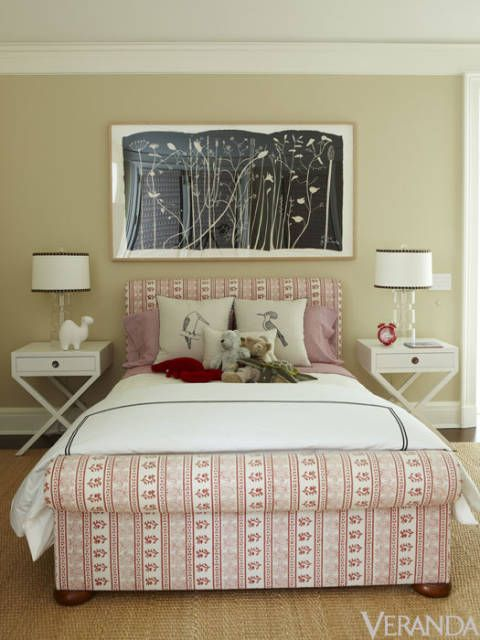 "<p>Designer Timothy Whealon uses ""Simone,"" a floral stripe by Les Indiennes, to add warmth and whimsy to a child's room. <a href=""http://www.Lesindiennes.com"">Lesindiennes.com</a></p>"