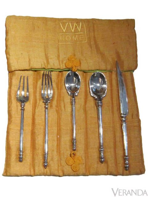 "<p>The Jasmine flatware, handmade using sterling silver, displays the same craftsmanship used by Indian silversmiths during the Raj Period. $900 for 5-piece placesetting&#x3B; <a href=""http://www.vicentewolf.com"">vicentewolf.com</a></p>"