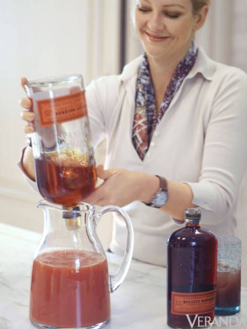 <p>Serves 6<br /><br /><strong>Ingredients:</strong><br />Brown sugar cubes (two per cocktail)<br />1 bottle blood orange bitters<br />3 cups blood orange juice<br />12 ounces bourbon<br />Soda water<br /><br /><strong>Steps:</strong><br />1. For each cocktail, soak two (preferably brown) sugar cubes with a tablespoon of blood orange bitters in a 12-ounce highball glass. I like to do this a few hours ahead of time so that the sugar cubes completely dissolve. Plus, it allows me to set up an entire tray of drinks before the party, so that I'm not scrambling for glasses at the last minute. <br /><br />2. When you're ready to serve the drinks, fill each glass with ice and add half a cup of freshly squeezed blood orange juice, 2 ounces bourbon (I love Bulleit bourbon), and a splash of soda. Garnish with a thinly sliced blood orange wheel.</p>