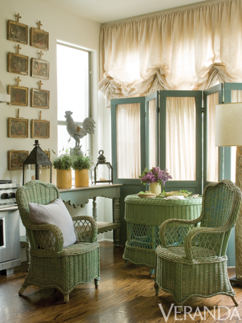 Green wicker furniture. European Country Interior Design by Jane Moore.