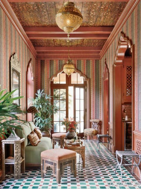 <p>An exotic moment from a known authority on English and American decoration. The space dramatically comes together from an unerring sense for pattern, color, and light.</p>