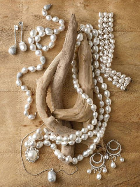 "<p>Baroque pearls may be salt- or freshwater, natural or cultured.</p>  <p><h2>Top, Left to Right:</h2></p> Baroque South Sea pearl and diamond earrings in white gold from <a href=""http://www.yvel.co.il/"" target=""_blank"">Yvel</a>. <a href=""http://friendandcompany.com/"" target=""_blank"">Friend & Company</a>'s 11-14mm baroque South Sea pearl necklace with 10 carats of pavé diamonds in 18k white gold.Tara's Vintage Collection 15-18mm white South Sea baroque pearl necklace. Keshi pearl bracelet with diamonds in white gold from <a href=""http://www.assael.com/"" target=""_blank"">Assael International</a>.   <p><h2>Bottom, Left to Right:</h2><p> Baroque South Sea cultured pearl and diamond pendant by <a href=""http://www.mikimotoamerica.com/"" target=""_blank"">Mikimoto</a>. <a href=""http://www.pearlautore.com.au/"" target=""_blank"">Autore's</a> Sheherazade Collection South Sea keshi pearl and diamond earrings in white gold. Driftwood courtesy of <a href=""http://www.coastecotimber.com/"" target=""_blank"">Coast Eco Timber Inc</a>."