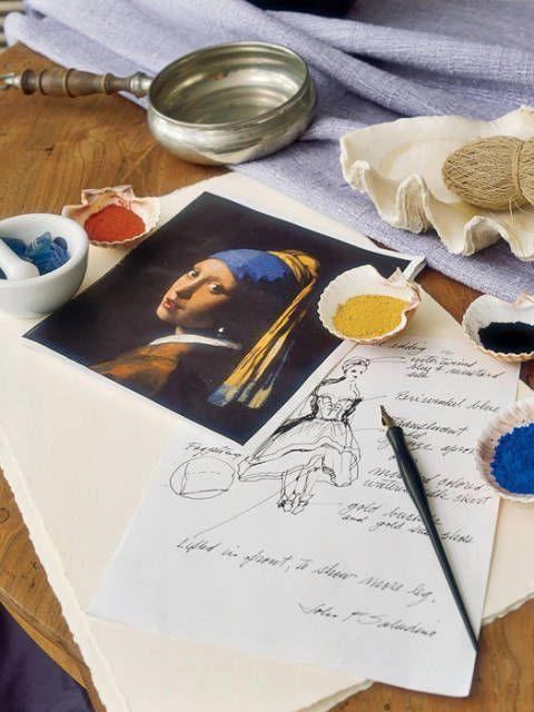 Copy of Vermeer's <i>Girl with a Pearl Earring</i>, Saladino's inspiration for the show house, beside his sketch.