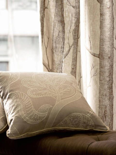 "<p>Pillow in ""Whitcomb"" linen and ""Woods Print"" in background, by Cohler for <a href=""http://www.leejofa.com/"" target=""_blank"">Lee Jofa's</a> Lodge.</p>"