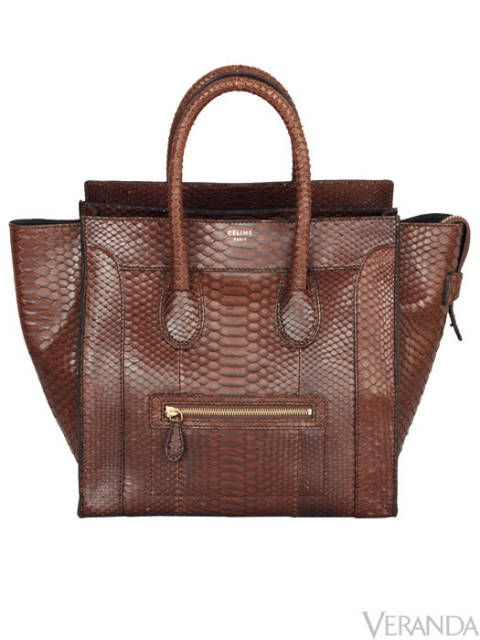 "Céline's python mini luggage bag is the tote she's been searching for: practical, roomy, classic—even an outside pocket. $4,500. 305-866-1888; <a href=""http://www.celine.com/"" target=""_blank"">celine.com</a>"