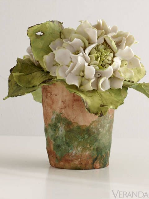 """Since I was a child, I've been drawn to the garden,"" says Pamela Vieuxtemps Tidwell of Georgia. She brings her passion for the garden to her botanicals, influenced by Chinese and 18th-c. Meissen porcelain. Hydrangeas, $800.  <a href=""http://www.vieuxtempsporcelain.net/"" target=""_blank"">vieuxtempsporcelain.net</a>; 706-672-1144"