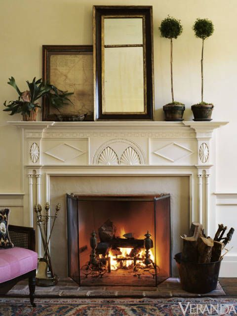 "Much like old flooring, antique mantels bring an authenticity to a room. When we cannot find the right antique, we often make new stone and wood mantels with the appropriate historic details to match the character and moldings of a house. One of our favorite sources for American antique mantels is <a href=""http://www.francispurcell.com/"" target=""_blank"">Francis Purcell</a> in Philadeph"