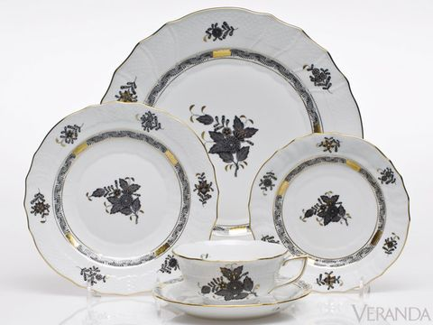 "<p>Herend's popular Chinese Bouquet design is now rendered in black and white for a bolder, more modern effect.  From $50 per piece; <a href=""http://www.Herendusa.com/"">Herendusa.com</a>.</p>"