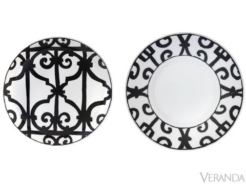 "<p>Graphic and bold, the Balcon du Guadalquivir Black by Hermes recalls the intricate ironwork of Andalusian towns. From $105 per piece; <a href=""http://www.Hermes.com"">Hermes.com</a>.</p>"