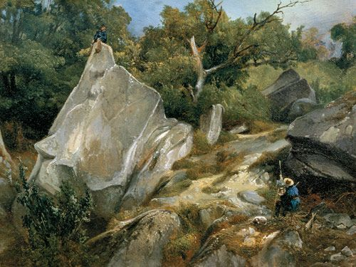 An Artist Painting in the Forest of Fontainebleau c.1825 Augustin Enfantin Oil on paper mounted on canvas Private collection
