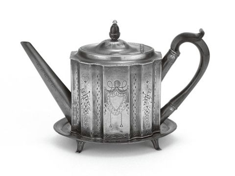 The American colonies imported large quantities of pewter. Teapot and stand from the late 18th c. illustrate the talents of James Vickers of Sheffield, England.